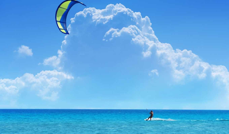 кайтинг, сёрфинг, небо, море, облака, eu, kitesurf,