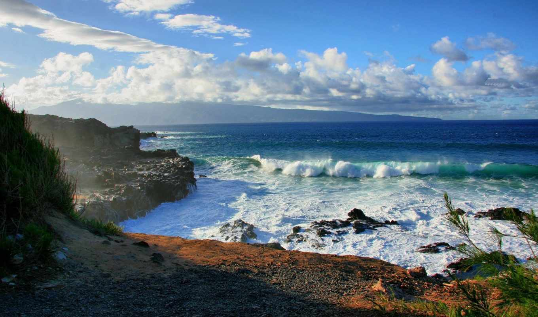 пляж, пейзажи -, water, море, ocean, скалы, берег, небо,