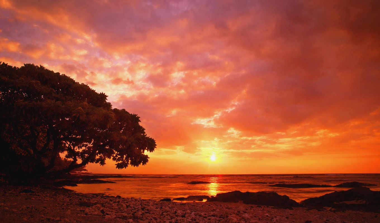 закат, море, red, берег, side,