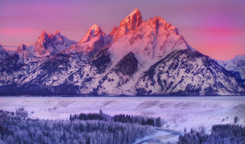 горы, красивые, winter, снег, wyoming, landscape, grand, сша, природа, teton,