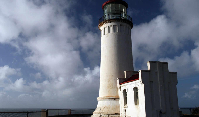маяк, небо, берег, океан, горизонт, забор, просмотреть, lighthouse,