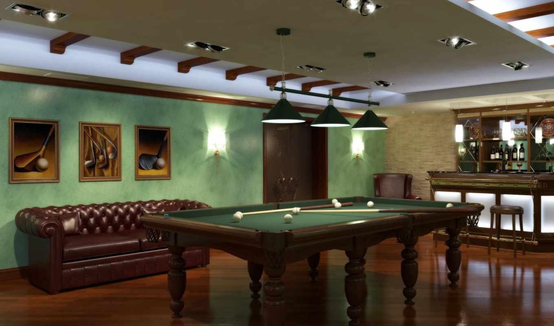 бильярдный, диван, кий, стойка, комната, барная, имеет, горизонтали, интерьер, картинка,