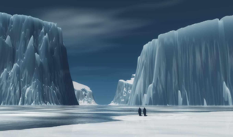 bergs, antarctica, art, digital, penguins, landscape,