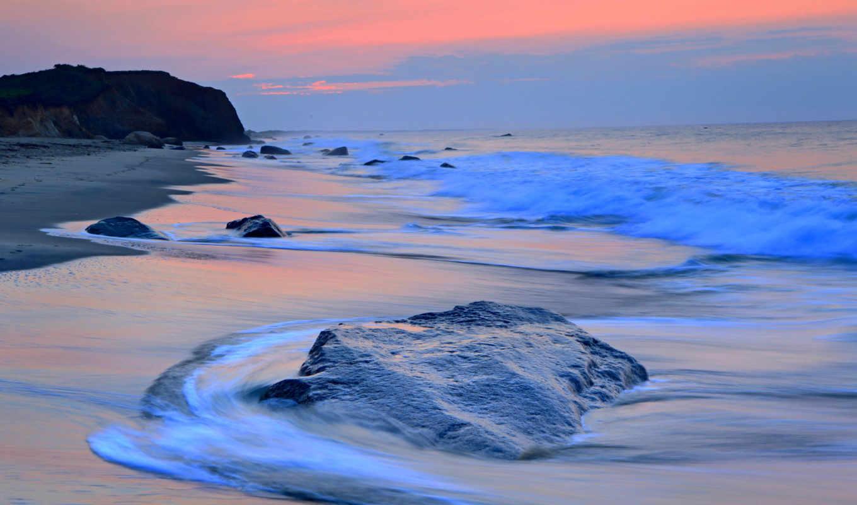 море, волна, пляж, картинка,