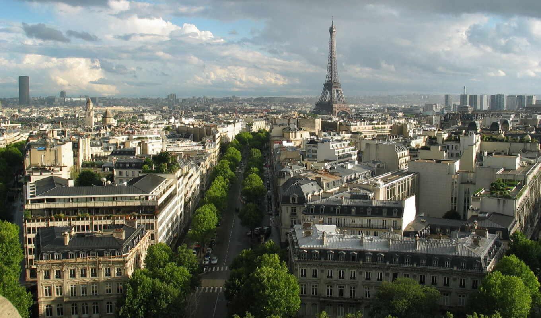 париж, франция, башня, эйфелева, взгляд,