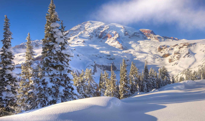 winter, горы, снег,