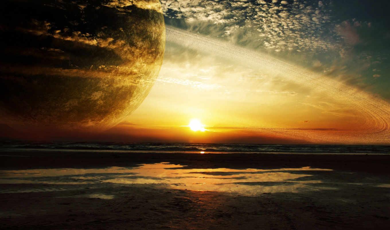 закат, море, кольца, cosmos, planet,