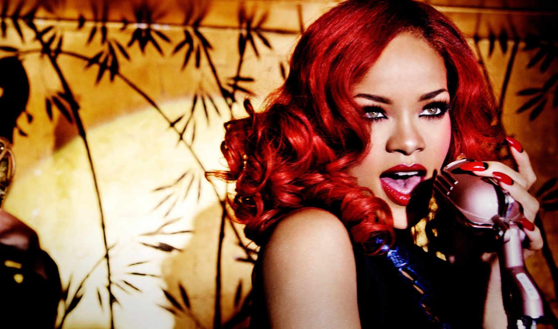 rihanna, рианна, vogue, красными, волосами, singer,
