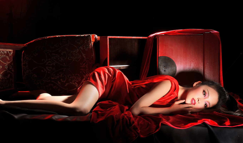 обои, платье, красном, девушка, девушки, красивые,