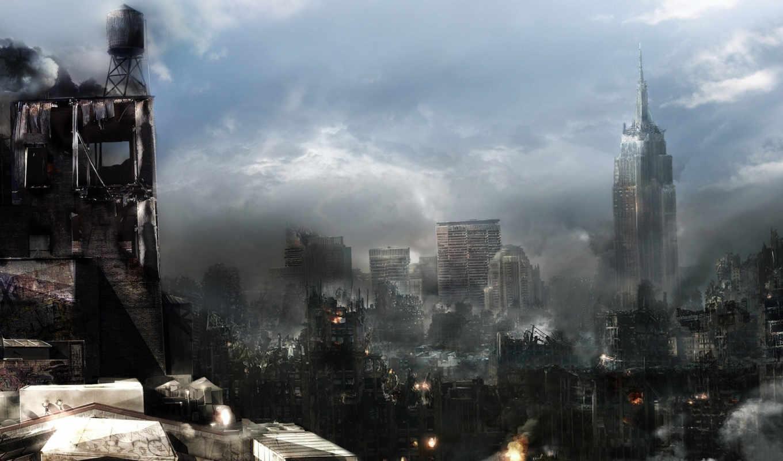 cities, разрушение, огонь, city, дым, architecture, небоскребы, download, fantasy, prototype,