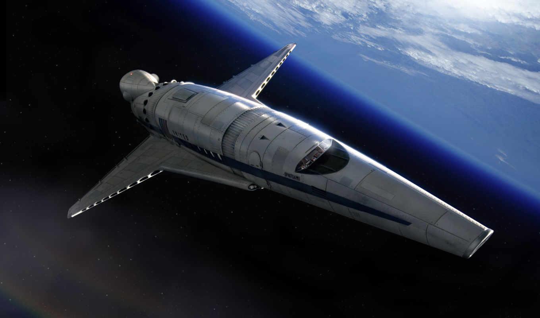планета, корабль, космический, звезды, арт, spacec, shuttle,
