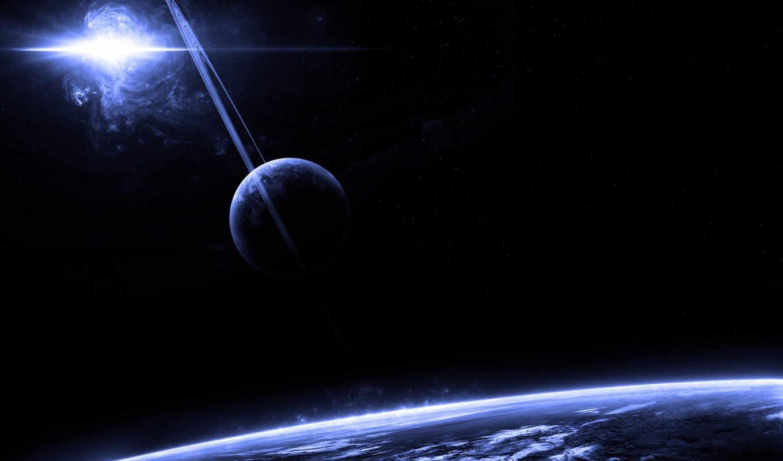 космос, планеты, кольца, арт, звезды, картинку, картинка,