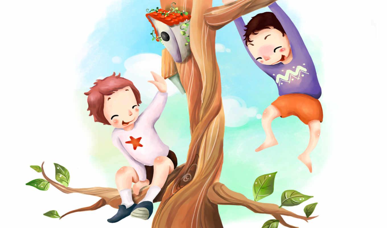 нарисованные, дети, дерево, радость, скворечник, листья