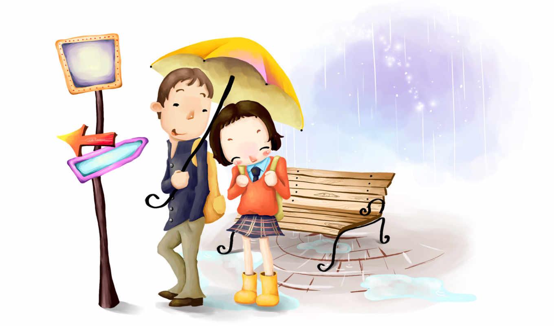 нарисованные, он и она, дождь, зонт, стыд, лавка, указатель