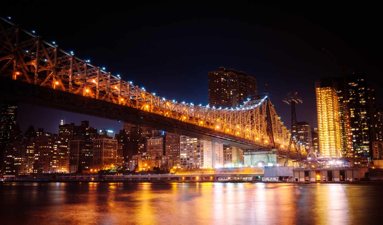 new, york, мост, город, manhattan, ночь, skyline,