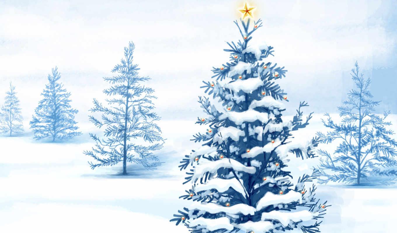 дерево, рисунок, снег, new, год, winter,