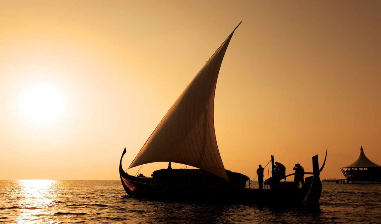 лодка, море, sail, закат, sun, люди,