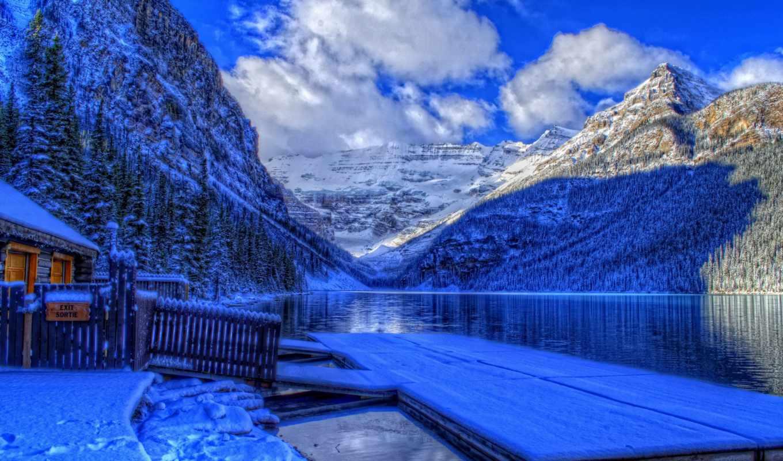 kanada, winter, banff, канада, канадский, альберта, снег, see, haus,