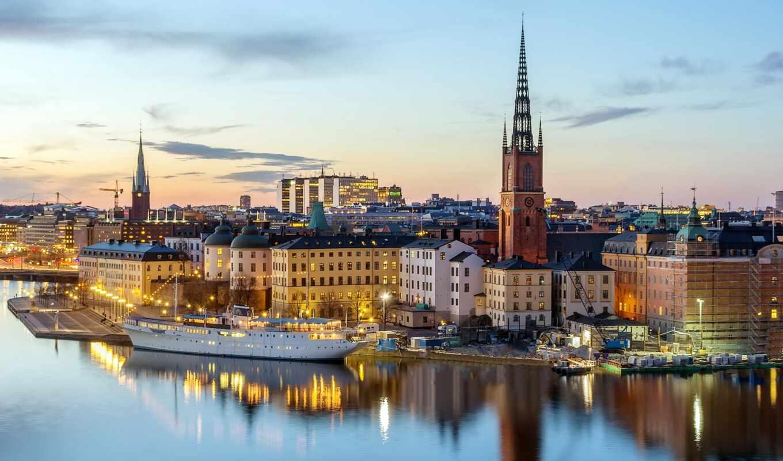 река, город, stockholm, стан, gamla, european