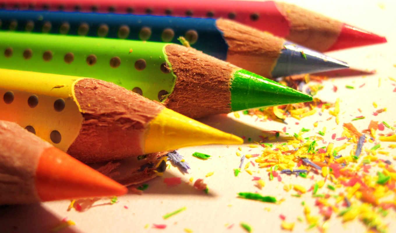 карандаши, макро, разноцветный