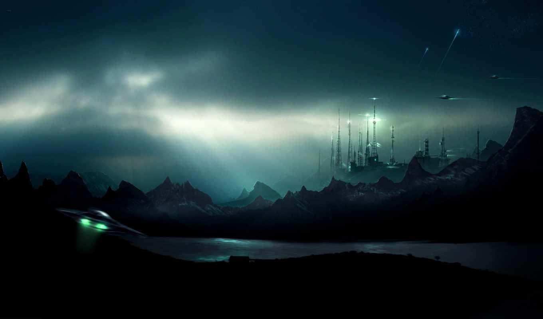 обои, mountains, wallpapers, ufo, water, нло, futu