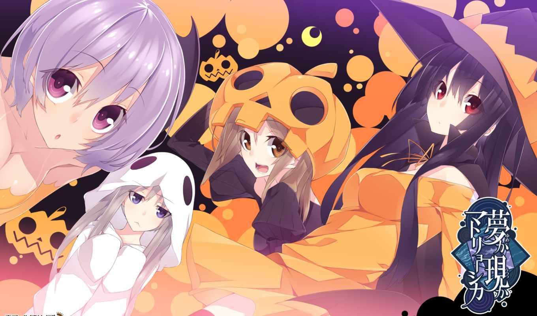 hair, eyes, brown, hat, halloween, аниме, blue, purple, miyako, picsfab, houri, long,