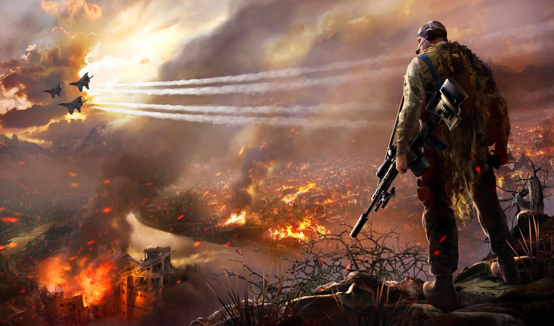 sniper, warrior, ghost, истребители, горящий, город, картинка,