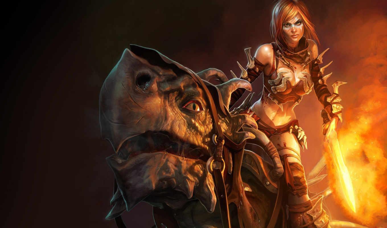 фэнтези, девушки, огненный, меч, fantasy, девочка, golden, axe,