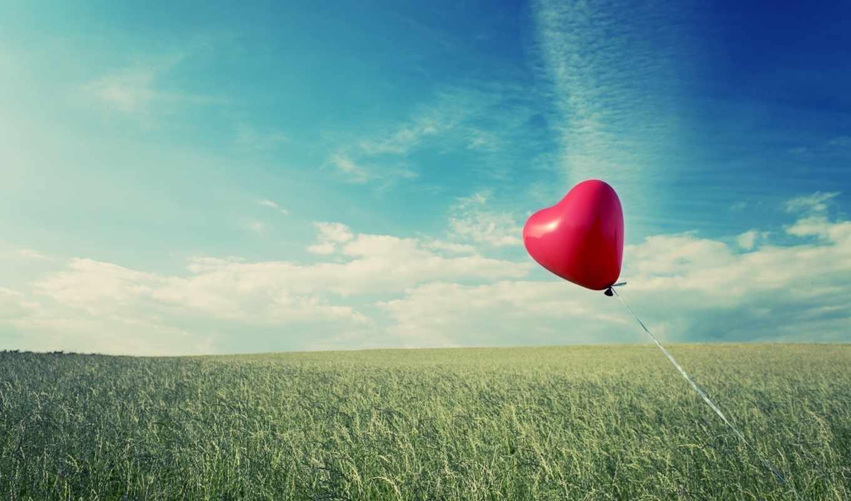 сердце, шар, лента, поле, пшеница, небо, облака