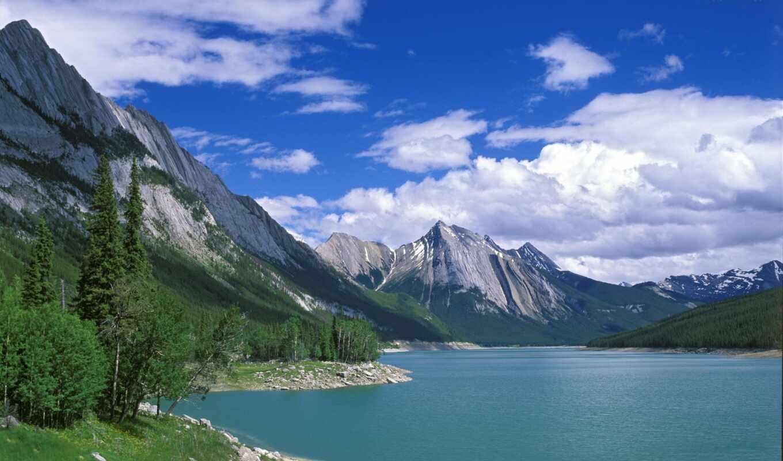 горы, озеро, деревья, landscape, water, природа,