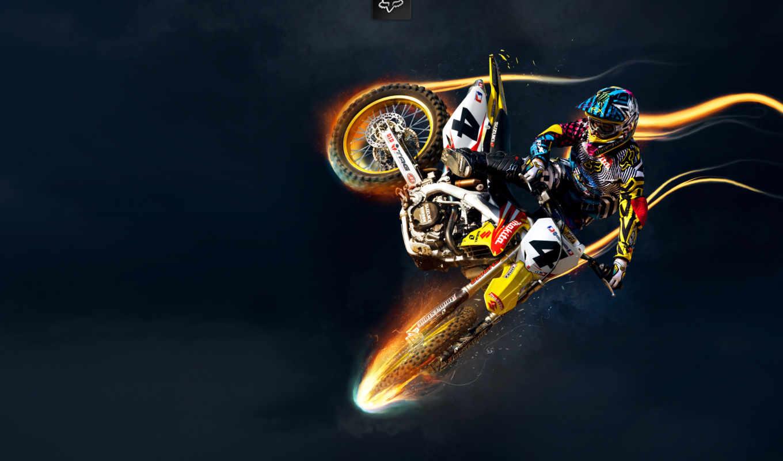 мотокросс, мотоциклы, мотоциклист, suzuki, заставки, широкоформатные, шлем, полет, фоны,