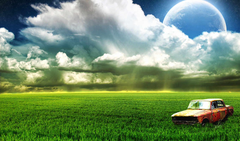 природа, луна, небо, поле, oblaka, трава, пейзажи -,