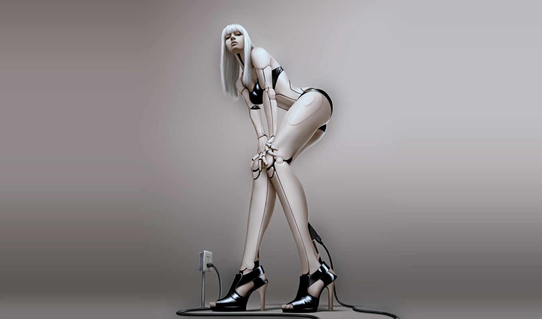 женщина, андроид, робот, зарядка