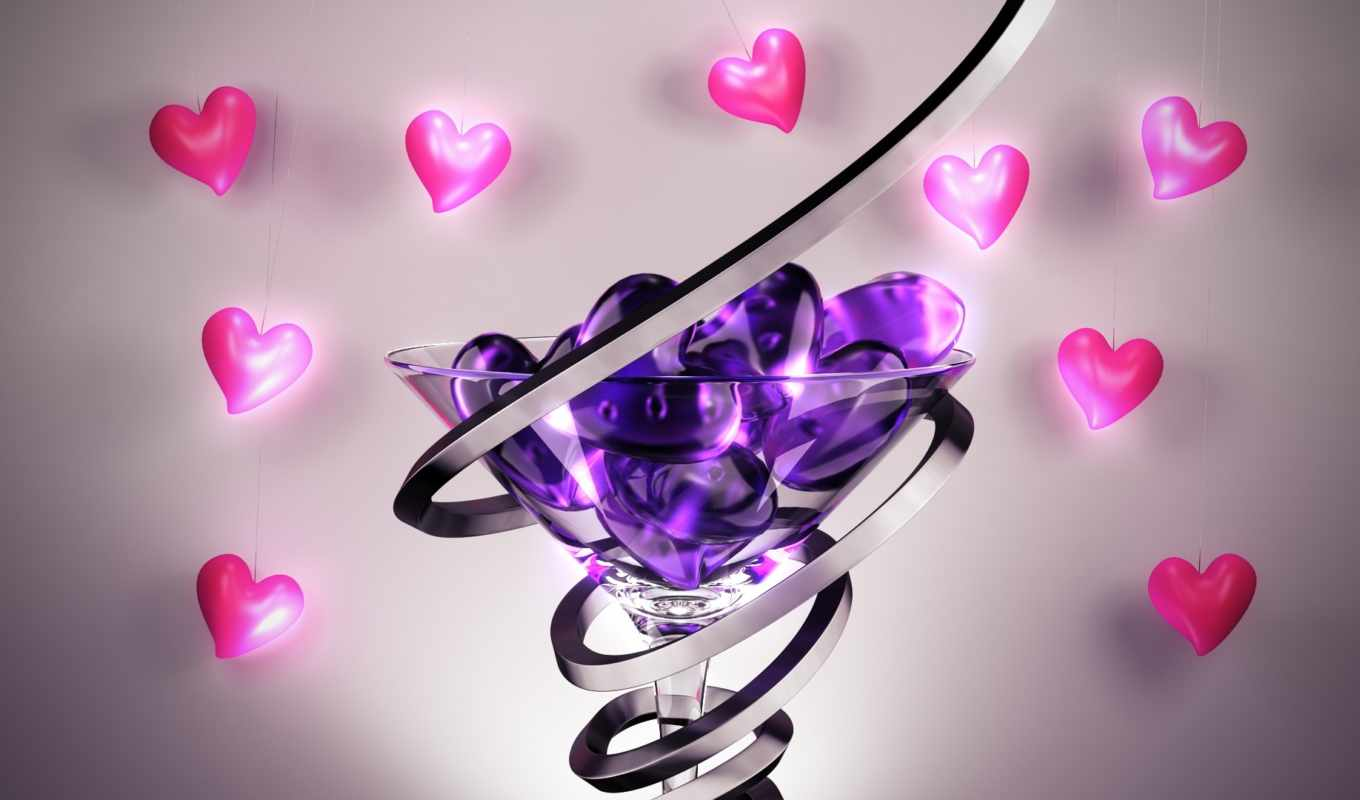 purple, glass, martini, hearts,