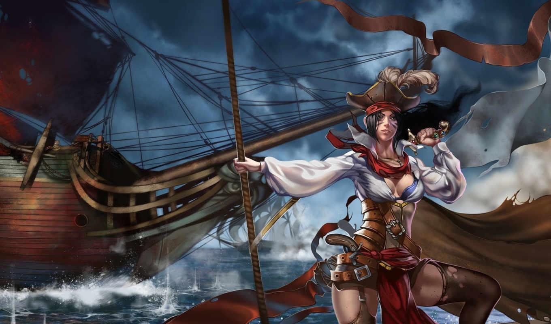 пиратка, девушка, море, корабль, арт, оружие, парусник,