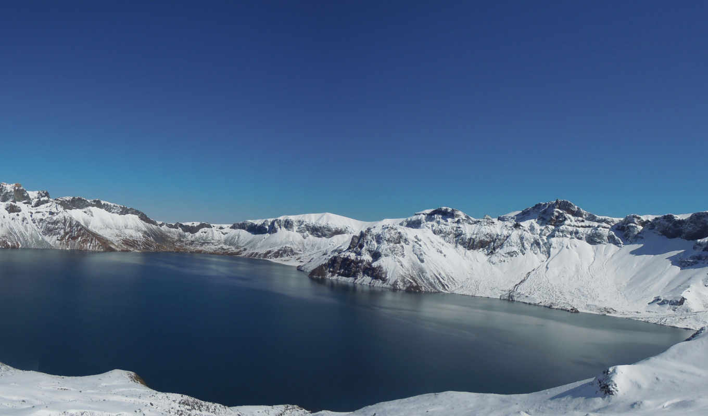 lake, природа, скалы, пейзаж, вода, горы, снег, панорама, tianchi, multi, monitors, небо, зима,
