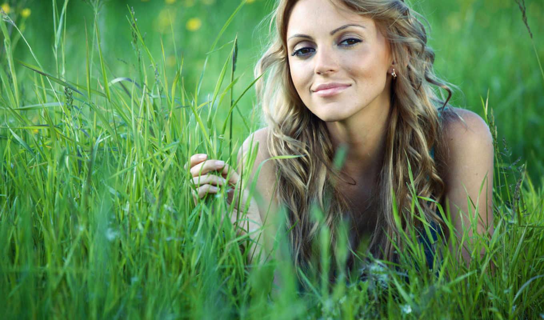 девушка, траве, девушки, трава, но, summer,