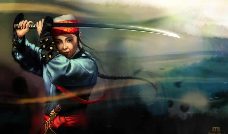 катана, девушка, город, art, меч, категории, ladera, anime,