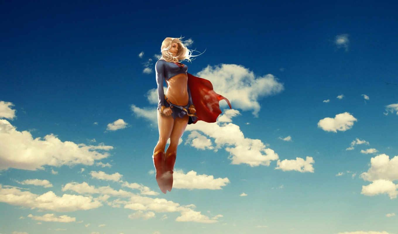 supergirl, she, reamonn, полет, oblaka,
