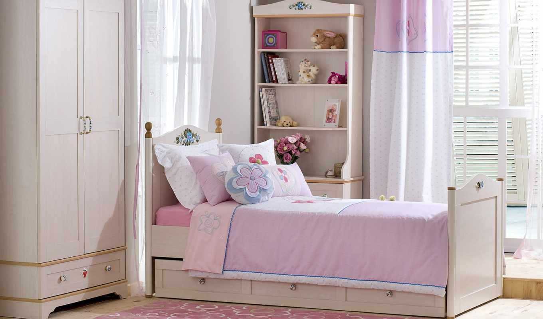 занавеска, кровать, окно, комната, розовая, шкаф, полки, pink, bedroom, книги, цветы, подушки, вазе, ue,