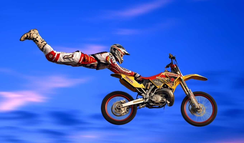 байк, мотоцикл, мотокросс, прыжок, трюки, воздухе, мотоцикле, картинка, sport, картинку, вернуться, разрешении,