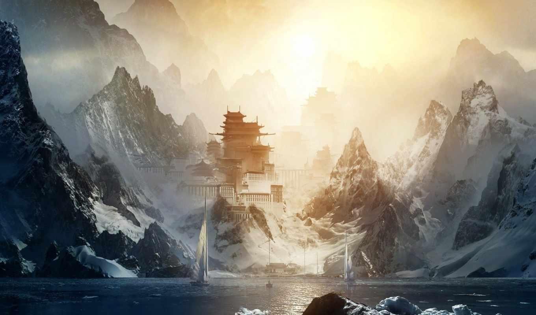 солнце, вода, горы, скалы, ледник, снег, паруса, лодки, пейзаж, дома, восток, красота, картинку,