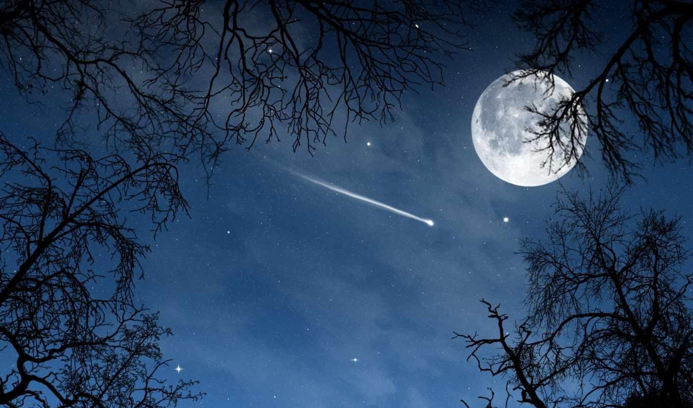луна, когда, звезда, чтобы, за, звезды,