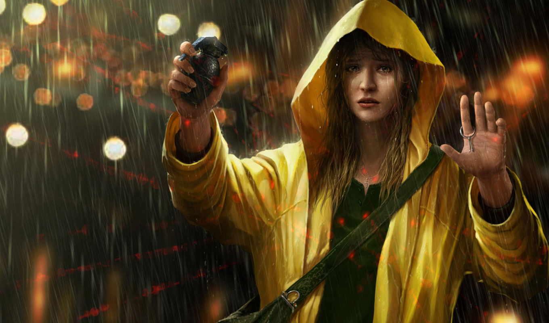дождь, девушка, дождем, под,