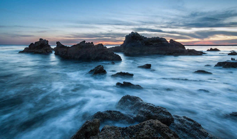 берег, калифорния, usa, вечер, ocean, скалы, камни,