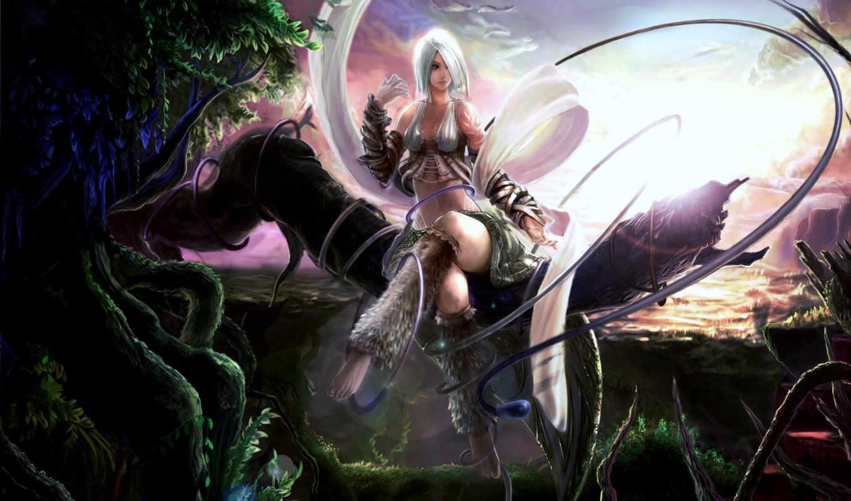 девушка, devushki, fantasy, фэнтези, природа, закат,
