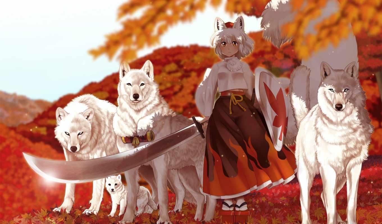 волки, игры, touhou, лучшая, уже, загружено, коллекция, manga, волк, momiji,