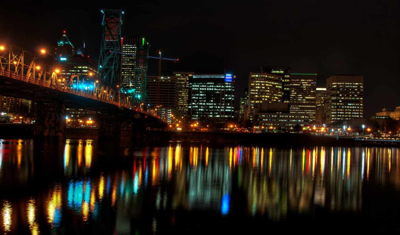 portland, ночь, город, мост, urban, planta, jazz, permission