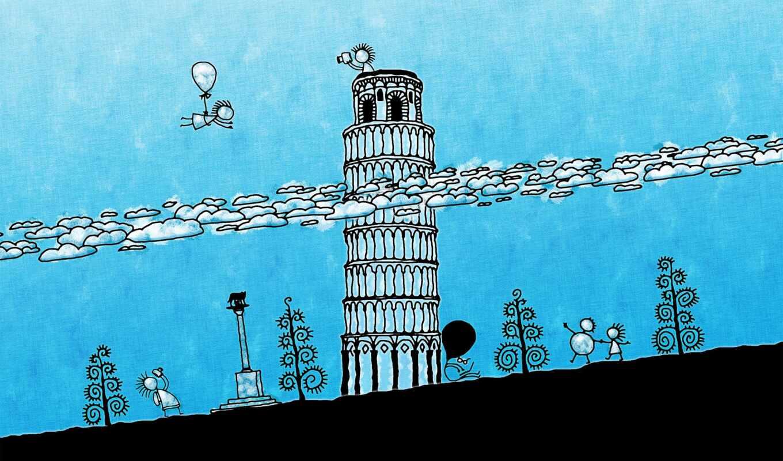 pise, pisa, obrázky, башня, lean, pan-iky, oblaky, mac, italy, black
