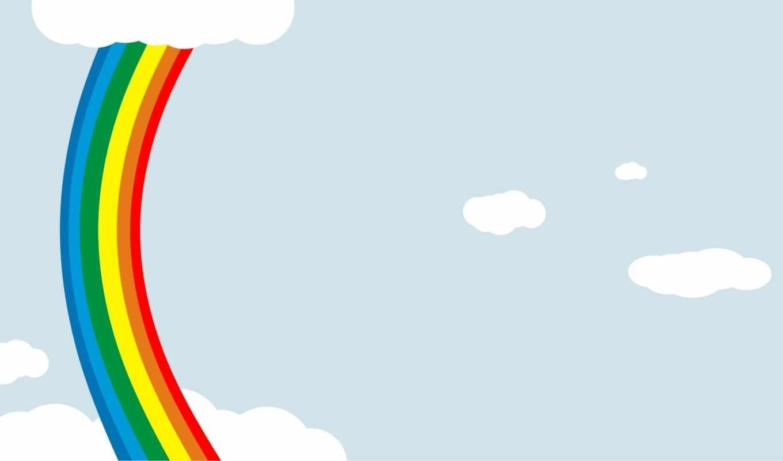 радуга, краски, облака, небо,